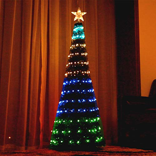 Bolylight Outdoor Christmas Tree 6ft Artificial Tree with Lights 304 LED Lighted Tree with 18 Light Flash Modes Remote Control for Home Office Living Room Indoor Festival Decoration Adaptor Operated