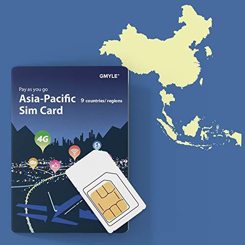 Prepaid-SIM-Karte für Korea, Thailand, Malaysia - Unbegrenzt / 14 Tage, Asien-Pazifik 9 Länder GMYLE 4G LTE 3G-Reisedaten, Online-Support aufladen (keine Nachricht und kein Anruf, entsperrtes Telefon)