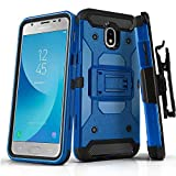 Phone Case for [Samsung Galaxy J3 Orbit (S367VL)], [Tank Series][Blue] Shockproof Cover with [Kickstand] & [Holster] for Galaxy J3 Orbit (Tracfone, Simple Mobile, Straight Talk, Total Wireless)