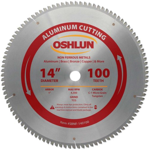 Oshlun SBNF-140100 14-Inch 100 Tooth TCG Saw Blade with 1-Inch Arbor for Aluminum and Non Ferrous...