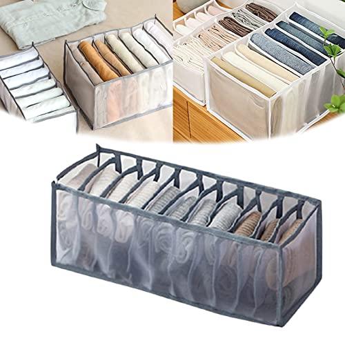 SLJF Caja de almacenamiento con compartimento para jeans, 7 rejillas lavable, organizador de ropa, armario, cajón de malla, separador de pantalones apilables, divisor de cajones (gris, calcetín)