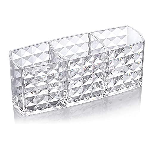 XIAOQIAO Caja de Almacenamiento acrílico Soporte de Cepillo cosmético Caja de Almacenamiento cosmético Organizador de baño Eyeliner Clear Caja de plástico Patrón de Diamante (Color : As Shown)