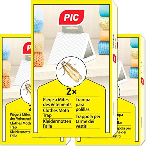 PIC Piège à Mites des Vêtements Paquet de Trois = 6 - Produit Anti Mites Textiles, approprié pour la Protection de Tous Les vêtements dans larmoire et en Stockage