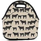 Regalos ideales: bolsa de almuerzo aislada Bolsa de almuerzo Angus Cattle Animal...