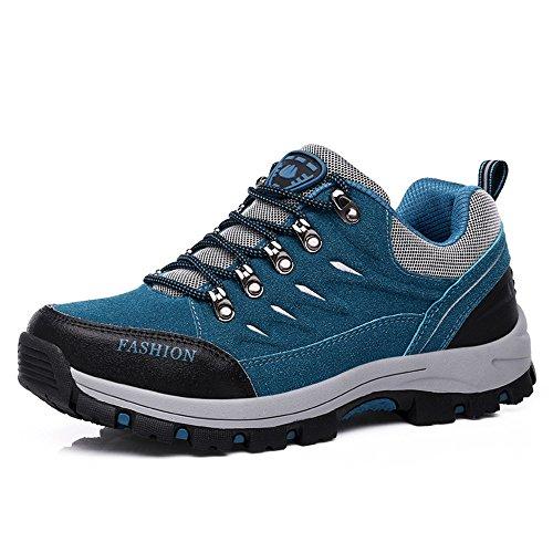 FZUU Wanderschuhe Trekking Schuhe Herren Damen Sports Outdoor Sneaker Armee Grün 35-44 Unisex (42, Blau)