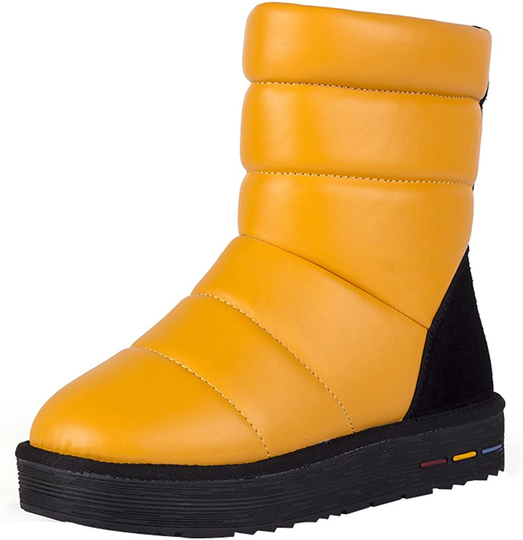 Eclimb Women's Mid Calf Multi Strap Faux Fur Snow Ankle Boots