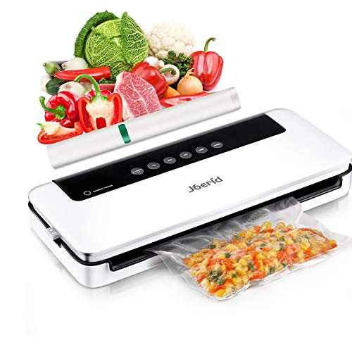 Upgraded Food Vacuum Sealer Machine,Joerid Food Savers Automatic/Manual Vacuum Air Sealing System with Dry&Moist Modes Led Indicator Lights& Started Kit for Home&Commercial