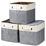 Kntiwiwo Foldable Storage Bin Collapsible Basket Cube Storage Organizer Bins with Dual Carry Handles for Home Closet Nursery Drawers Organizer, Set of 3