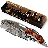 Professional Waiters Corkscrew by Barvivo - This Bottle Opener for Beer and Wine Bottles is Used by Waiters, Sommelier and Bartenders Around the World. Made of Stainless Steel and Gold Resin.