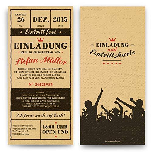 Einladungen zum Geburtstag (40 Stück) Vintage Ticket Eintrittskarten Retro 50er Jahre