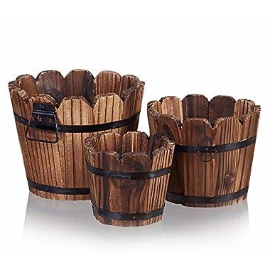 Wooden Barrel Planter, HakkaGirl Vintage Flower Pots, Rustic Barrel for Flowers, Plants, Decorative (Set of 3)