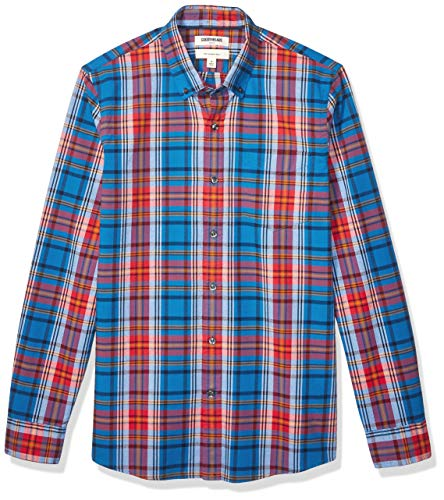 Camicia Uomo Slim-Fit Short-Sleeve Plaid Poplin Shirt Goodthreads