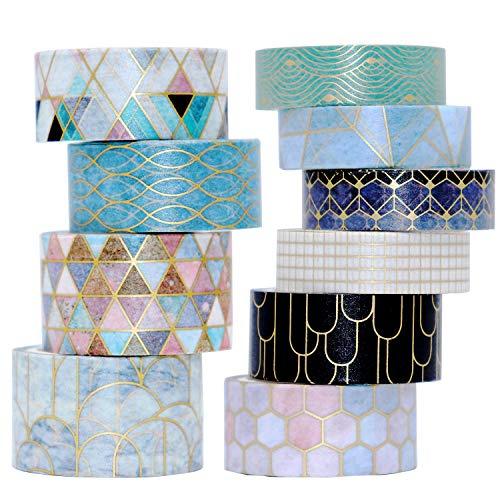 VEYLIN 10Rolls Gold Foil Washi Tape, Golden Stripe Decorative Masking Tape for Notebook and Art Crafts