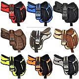 Radical Leather - Sillín de Piel sintética para niños y jóvenes en Miniatura, para Caballos ingleses, con cincha a Juego y Correa de Piel, tamaño de 10 a 12 Pulgadas, Asiento Disponible