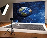 Space 10x8 FT Vinyl Photo Backdrops,Outer View of Planet Earth in Solar System with Stars Life on Globe Themed Image Background for Child Baby Shower Photo Studio Prop Photobooth Photoshoot
