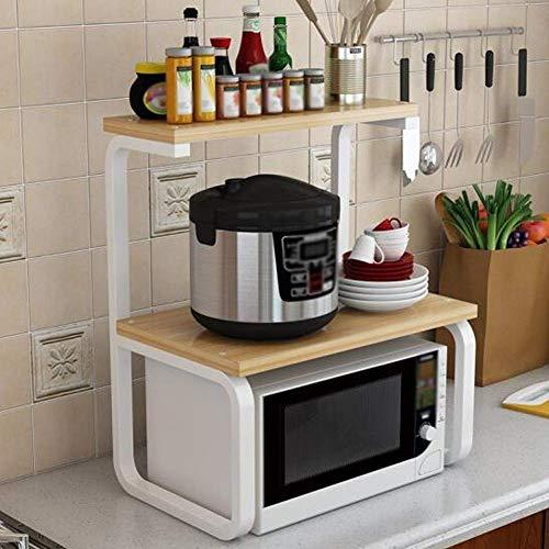 WIN&FACATORY Magnetron ovenrek Keukenmeubels Thuis Keuken Koolstofstaal Drie-tier Koffiemachine Opslag Plank Keukenkasten en bestek kasten (Kleur : Wit+zwart frame)