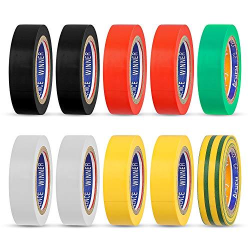 Faminess Isolierband 10 Set farbig Sortiert Gewebeband hohe Flexibilität und Klebekraft Isoband Elektriker Klebeband PVC Dichtungsband