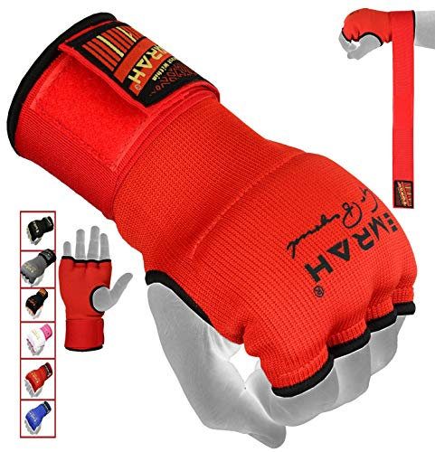 EMRAH PRO Training Boxing Inner Gloves Hand Wraps MMA Wraps Mitts - X (Red, Large)