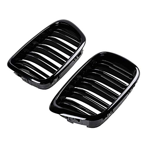 ZHANGJN Grille Grill, Chapor De Frente Negro Brillante Ridney Grille Grill ABS Dual Line Compatible para BMW E39 5-Series 525 528 1995-2004 Parachoques Frontal