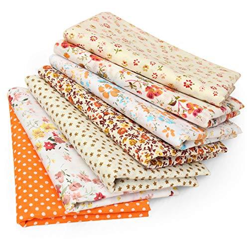 king do way 7 Pcs Tissu en Coton Tissu Couture Patchwork Tissus Patchwork Accessoires Artisanat DIY Fabric Sewing Floral, 50X50 CM, Orange
