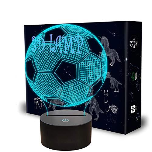 QpenguinBabies 3D-Nachtlicht für Jungen, Fußball-Nachtlicht, 7 Farben, Fußball-Lampe für Jungen, Kinder und Erwachsene