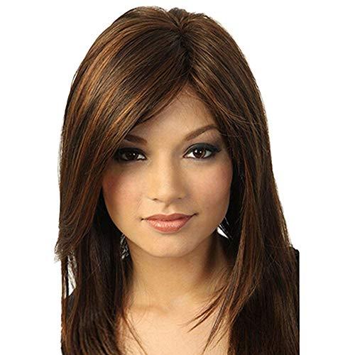 Coloré(TM) Perruque femme Brown Girl Perruque Naturelle Parti Longs Raides Cheveux Synthétiques