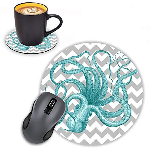 Log Zog Round Mouse Pad with Coasters Set, Green Octopus with Grey Chevron Design Mouse Pad Non-Slip Rubber Mousepad Office Accessories Desk Decor Mouse Pads for Computers Laptop