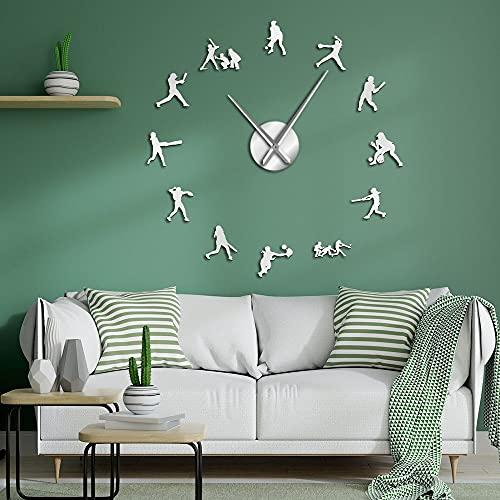 Softball - Reloj de pared de gran tamaño con efecto espejo, decoración del hogar, regalo de deportes para mujeres, agujas de metal grandes, reloj gigante (plateado, 47 pulgadas)