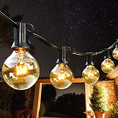 AVANLO 50Ft G40 String Lights with 50 Globe Clear Bulbs & 4 Spare Bulbs Waterproof IP44 Patio Hanging Lights for Indoor & Outdoor Decor UL Listed Maximum 100 Bulbs Extend