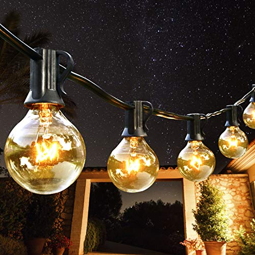 AVANLO 25Ft G40 String Lights with 25 Globe Clear Bulbs & 2 Spare Bulbs Waterproof IP44 Patio Hanging Lights for Indoor & Outdoor Decor UL Listed Maximum 100 Bulbs Extend