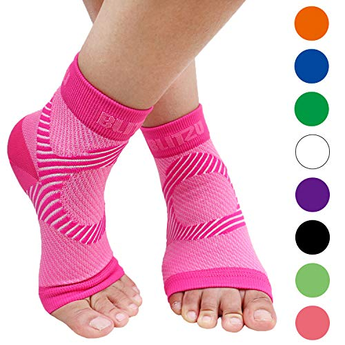 BLITZU Plantar Fasciitis Compression Socks For Women & Men - Best Ankle and Nano Sleeve For Everyday Use - Provides Foot & Arch Support. Heel Pain, and Achilles Tendonitis Relief. PINK L/XL