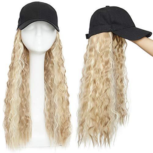 Haar Extension mit Baseball Cap Corn Wavy Perücke Haarverlängerungen Gewellt Haarteil wie Echthaar Sandy Blonde & Blond Bleichen#12P613