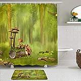 Juego de Cortinas y tapetes de Ducha de Tela,Fantasía Bosque Seta Tocón Conejo,Cortinas de baño repelentes al Agua con 12 Ganchos, alfombras Antideslizantes