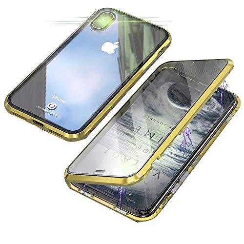 Jonwelsy Funda para iPhone XR (6,1 Pulgada), 360 Grados Delantera y Trasera de Transparente Vidrio Templado Case Cover, Fuerte Tecnología de Adsorción Magnética Metal Bumper Cubierta