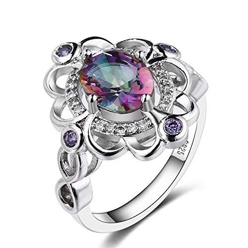 KHOBGLU Frauen Ring Regenbogen Topas Sterling Silber Ring Amethyst Verlobungsringe Damenschmuck 6 Multi