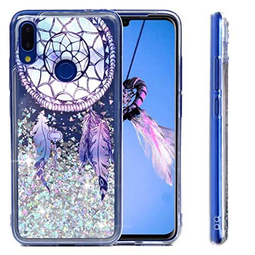 MUSESHOP Funda Xiaomi Redmi Note 7/Note 7 Pro, Pintado Purpurina Líquida Que Fluye Cubierta Brillante Carcasa Liquida Cristal TPU Gel Fina Arenas Movedizas - Campana de Viento de Plumas