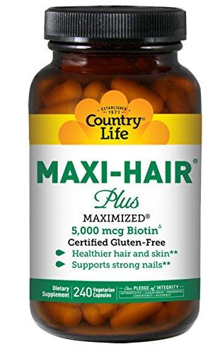 Country Life Maxi-Hair Plus Maximized with 5,000mg Biotin - 240 Vegetarian Capsules