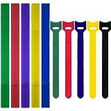 100Pcs Cable Ties, Colorido Reutilizable de Sujeción de Alambre Bridas de Velcro Correas Wrap Organizador Ataduras Cables Soporte de Cuerda para PC Portátil TV