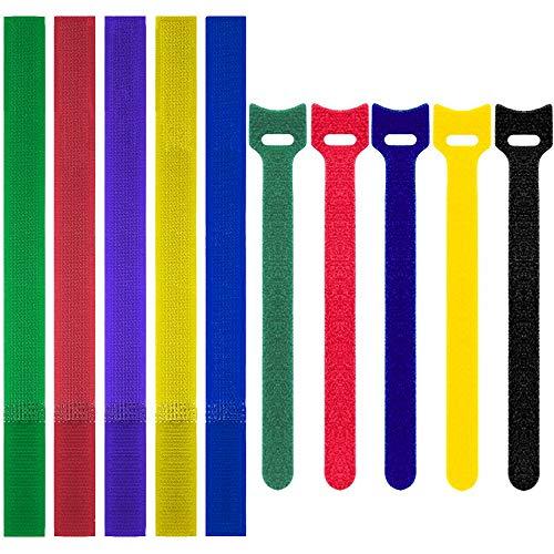100Pcs Cable Ties, Colorido Reutilizable de Sujeción de Alambre Bridas de Velcro...
