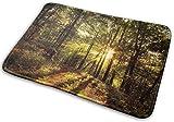 RedBean93 - Felpudo de Entrada Personalizable, Lavable, Antideslizante, diseño de árboles del Bosque con Sol y Sol, 40 x 60 cm