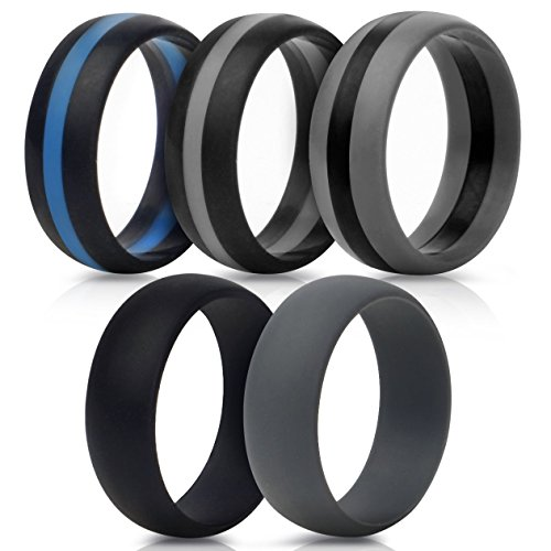 Saco Band Silicone Wedding Rings - Middle Line & Plain (Middle Line Blu Gray Black, Plain Gray Black, 8.5-9 (18.9mm))