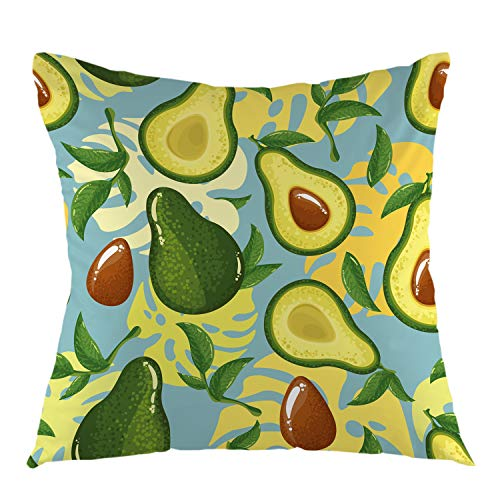 oFloral Avocado Decorative Throw Pillow Cover,Avocado Slices Exotic Monster Leaves Pillow Case Square Cushion Cover for Sofa Couch Home Car Bedroom Living Room Decor 18' x 18' Brown Green