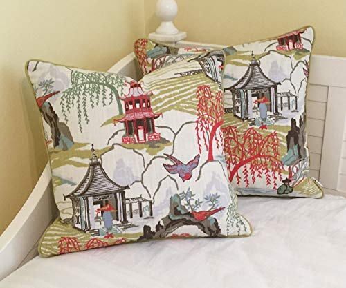 ances Lincol Pair of Robert Allen Neo Toile in Coral Designer Pillowcase Covers with Piping Other Piping Colors Available