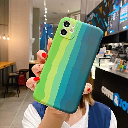 OcaseQ Funda Rainbow Compatible con iPhone 11 Pro MAX Carcasa Anti Choque de Silicona Líquida con Protector de Lente de Cámara Forro de Microfibra Ultrafina Suave TPU Back Cover,4,X