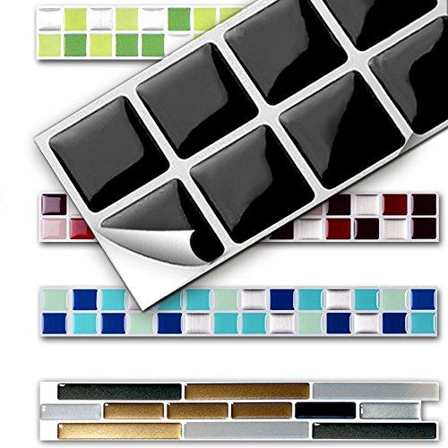 Grandora 7 Piezas Set 25,3 x 3,7 cm Etiqueta Adhesiva para baldosas Negro Design 13 I Autoadhesivo Mosaico 3D Pegatinas Azulejos y baldosas lámina de Mosaico Autoadhesivo baño Cocina W5291