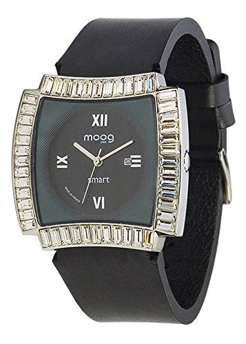 Moog Paris Smart Damen Uhr mit Schwarzem Zifferblatt, Swarovski Elements & Schwarzem Armband aus echtem Leder - M45092-002