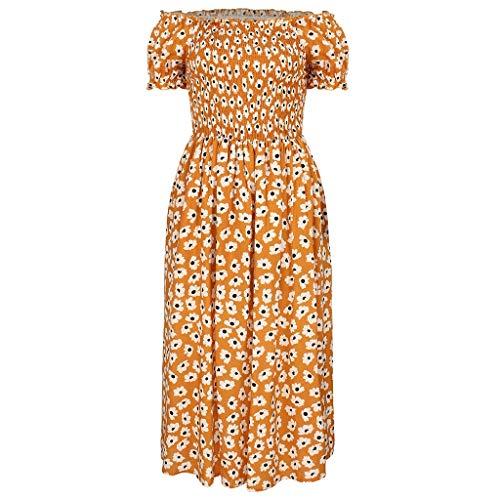 Strapless jurk, New Women's Casual ademend Loose Soft lange jurk, Outdoor Loose Beige (Color : Beige, Size : XL)