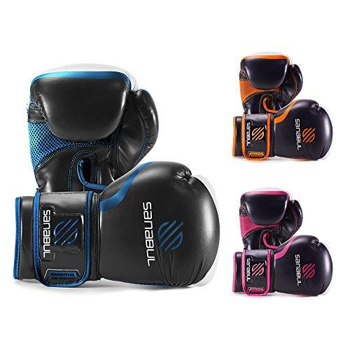 Sanabul Essential Gel Boxing Kickboxing Training Gloves (Black/Metallic Blue, 12 oz)