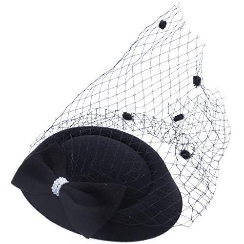 Huante Chapeau bibi pour femme avec nœud à pois et pince à cheveux Noir