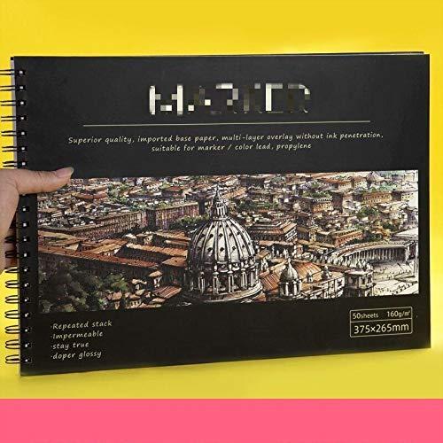 Dickes Skizzenbuch, 160 g Binder Notebook Nachfüllbar Geeignet für Bleistifte, Füllfederhalter, Markierungsstifte, Zeichenbuch-Kunstbedarf 8K2